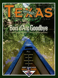 February 2010 cover image canoe on Bois d'Arc Creek