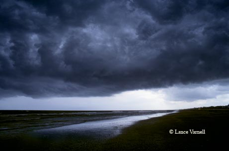 A midday storm rolls down Bolivar Peninsula in Galveston County.