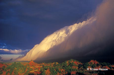 A winter squall line sweeps the badlands of northern Texas.